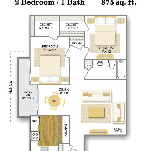 Floor Plan 3 | Apartments For Rent In San Antonio | Hunter\'s Glen Apartments