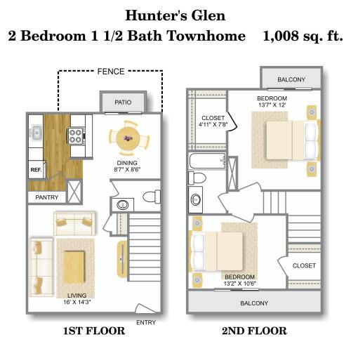 Floor Plan 4 | Apartments For Rent San Antonio TX | Hunter\'s Glen Apartments