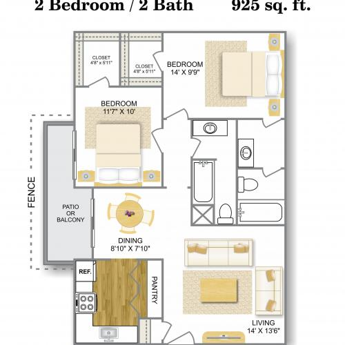 Floor Plan 5 | Apartments Near Medical Center San Antonio Tx | Hunter\'s Glen Apartments