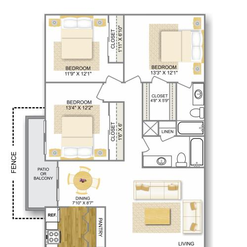 Floor Plan 6 | Apartments In San Antonio TX | Hunter\'s Glen Apartments