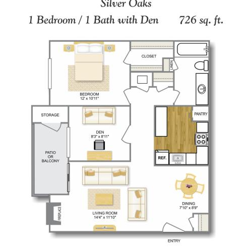 Den WD 1 Bedroom Floor Plan | Apartments In Leon Valley San Antonio TX | Silver Oaks Apartments