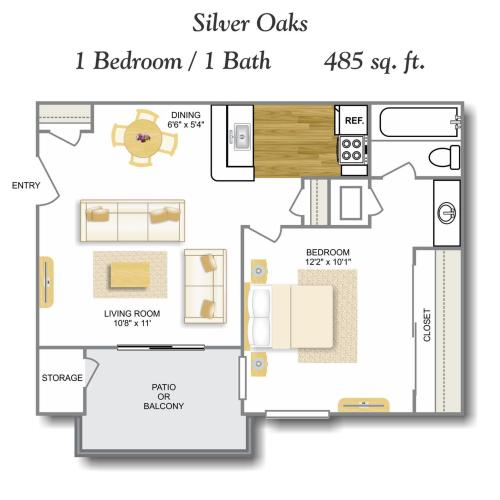Bay Window 1 Bdrm Floor Plan | One Bedroom Apartments In San Antonio TX | Silver Oaks Apartments