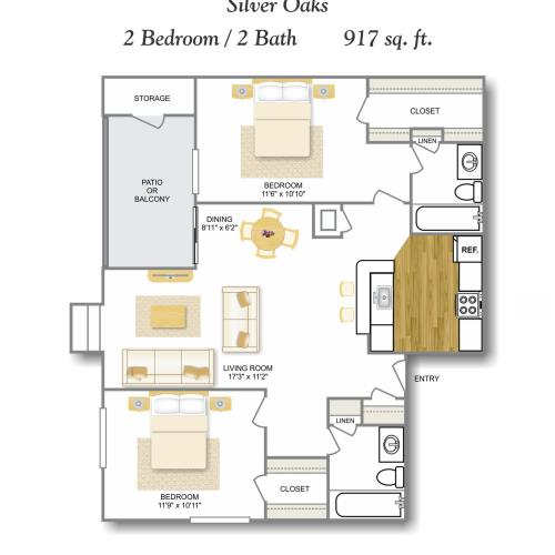 WD 2 Bedroom Floor Plan | Apartments For Rent San Antonio TX | Silver Oaks Apartments