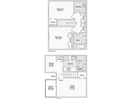 Two Bedroom, One and Half Bath (B)