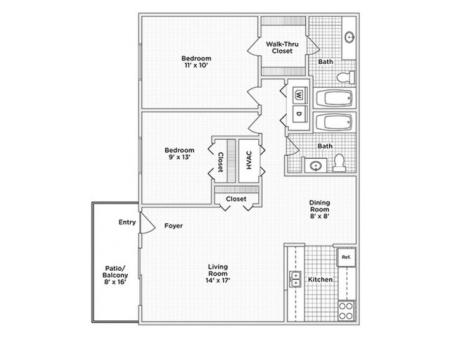 Two Bedroom, Two Bath (C)
