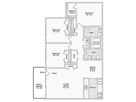Three Bedroom, Two Bath (D)