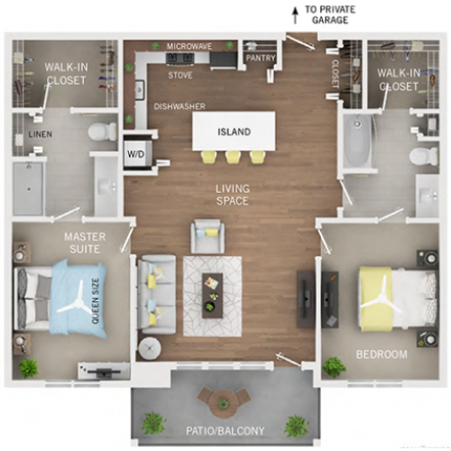 floor plan C4 two bedroom two bath