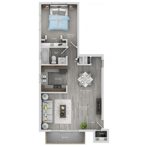 one bedroom one bath apartment floor plan
