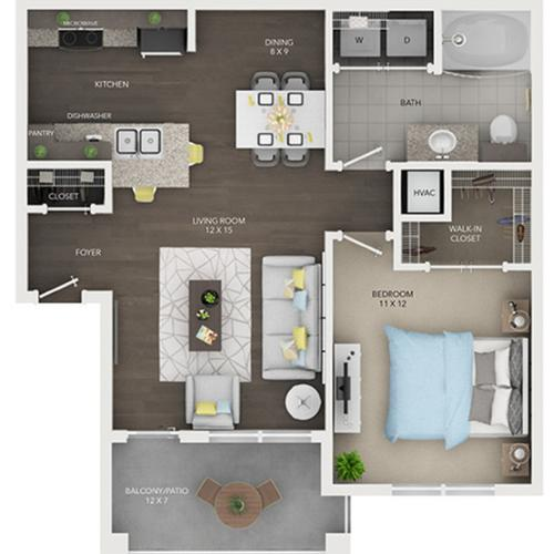 one bedroom one bath apartment floor plan A1