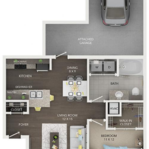one bedroom one bath apartment floor plan A2