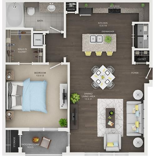 one bedroom one bath apartment floor plan A5