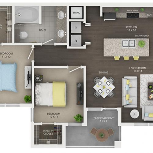 two bedroom with one bath apartment floor plan B1