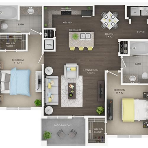two bedroom with two bath apartment floor plan C1