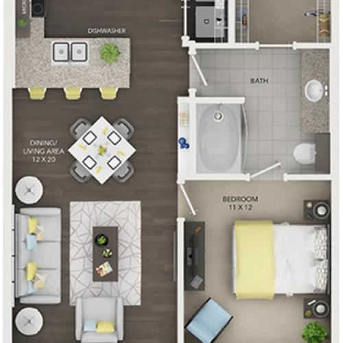 one bedroom one bath apartment floor plan A4