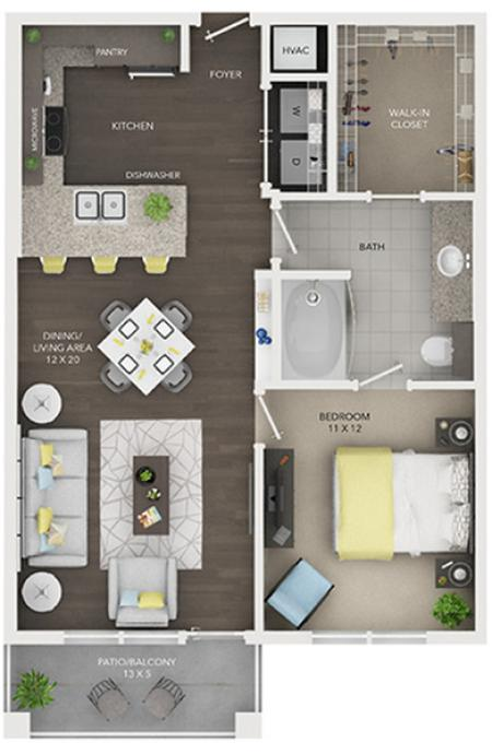 One Bedroom, One Bath (A3)