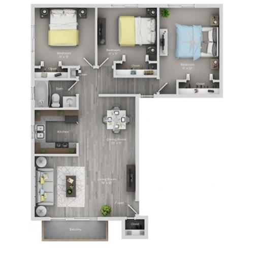 3 bedroom 3 bath apartment floor plan