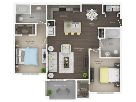Two Bedroom, Two Bath (C3)