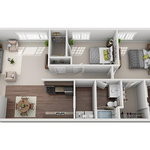 two bed two bath C1 floor plan