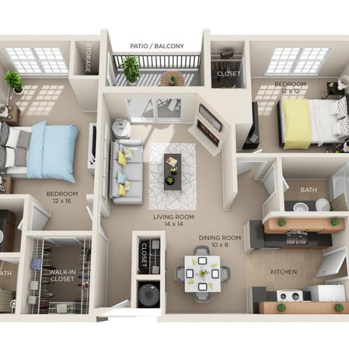 Two Bed, Two Bath C floor plan