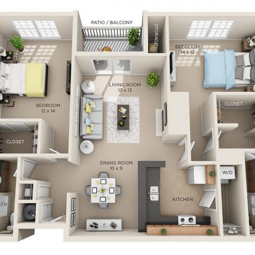 Two Bed, Two Bath C1 floor plan