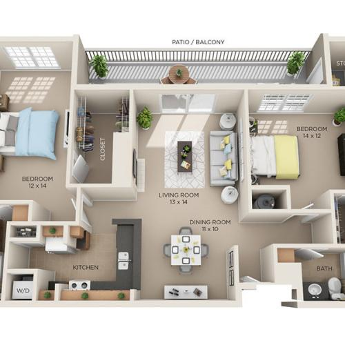 Two Bed, Two Bath C2 floor plan