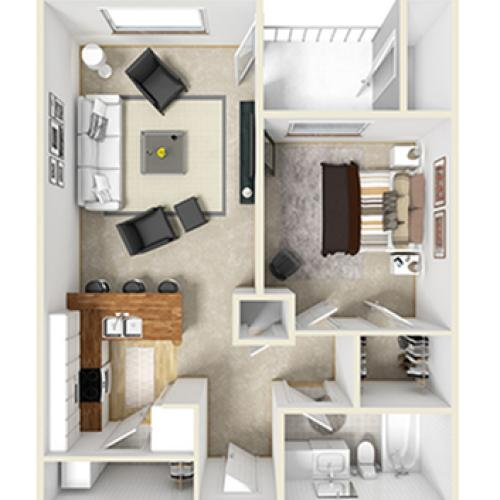 One Bed, One Bath A1p floor plan