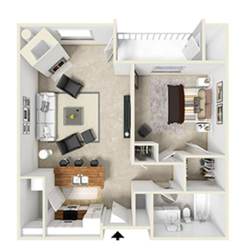 One Bed, One Bath A2p floor plan