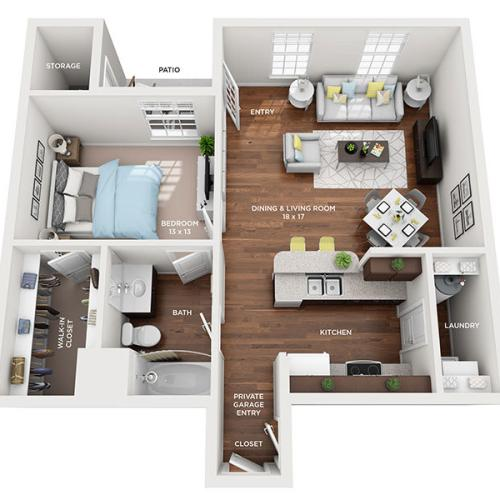 One Bedroom, One Bath floor plan