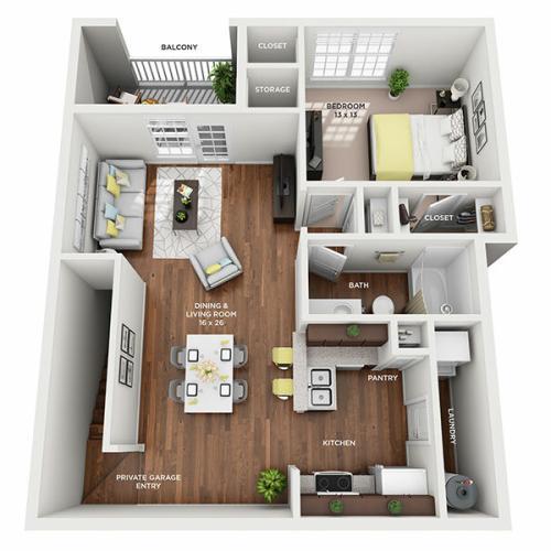 One Bedroom, One Bath floor plan