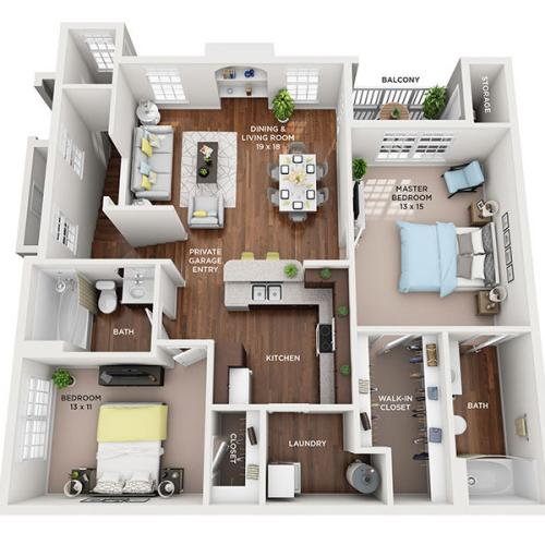 Two Bedroom, Two Bath floor plan