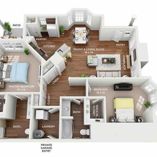 Two Bedroom, Two Bath floor plan