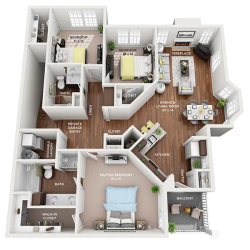 three bed two bath floor plan