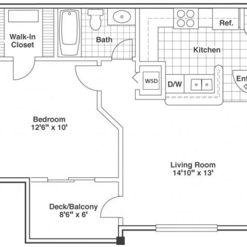 one bed one bath Ash floor plan