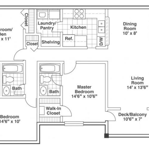 three bed two bath Elm floor plan