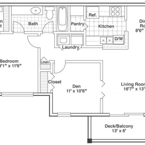 two bed one bath Cedar floor plan
