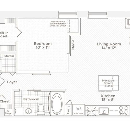 one bedroom one bath A1 floor plan