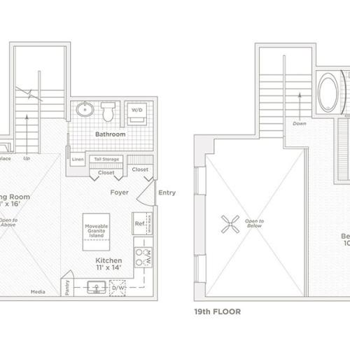 one bedroom one bath A9 floor plan