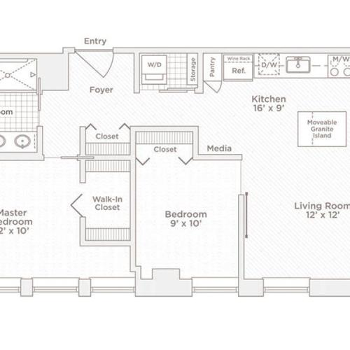 two bedroom one bath B floor plan