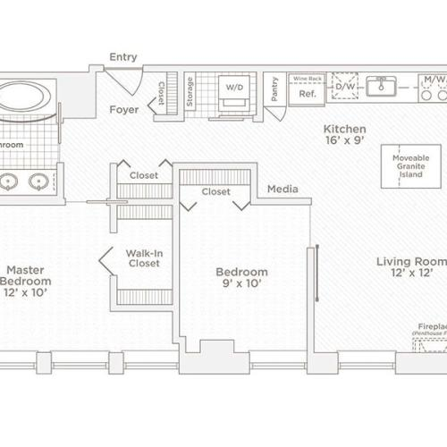 two bedroom one bath B2 floor plan