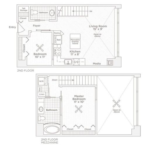 two bedroom one bath B3 floor plan