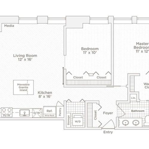two bedroom one bath B4 floor plan