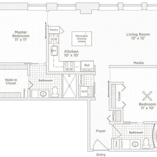 two bedroom two bath C1 floor plan