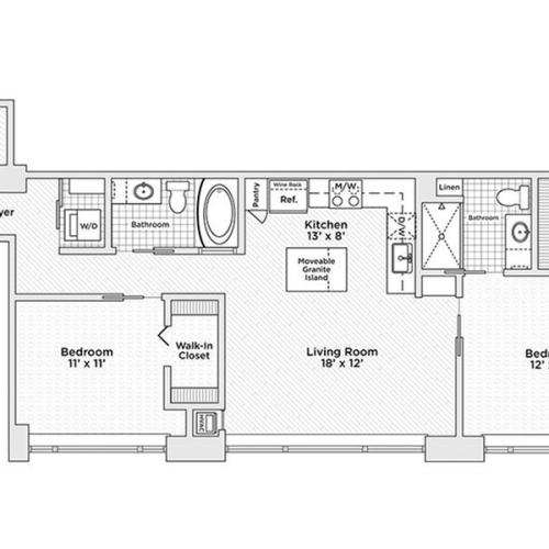 two bedroom two bath C6 floor plan