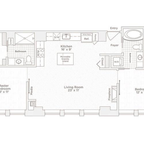 two bedroom two bath C7 floor plan