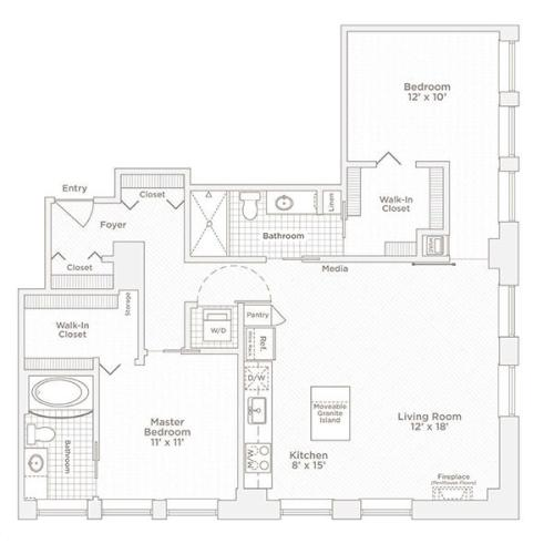 two bedroom two bath C10 floor plan