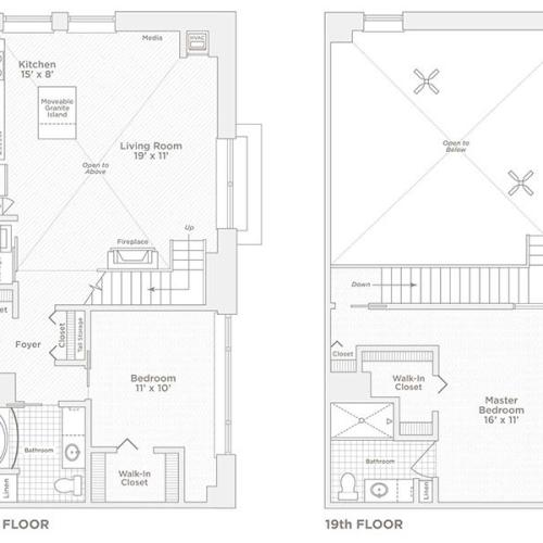 two bedroom two bath C14 floor plan