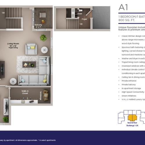 one bed one bath A1 floor plan
