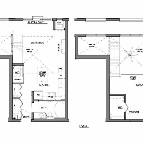 one bed plus den one bath A14 floor plan