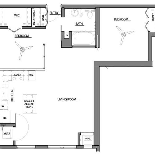 two bed one bath B floor plan