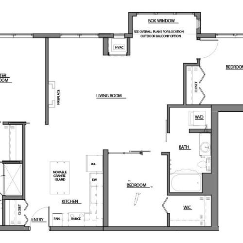 three bed two bath D1 floor plan